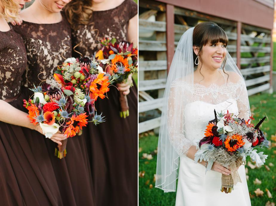 autumn flowers for barn wedding at gibbet hill