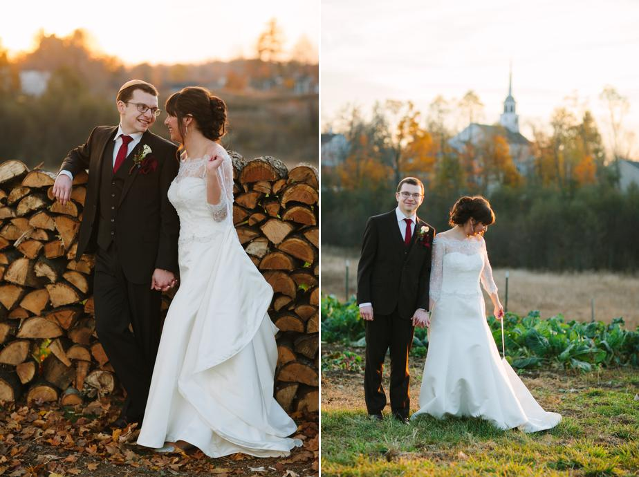 wood pile bride and groom at gibbet hill wedding